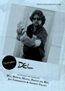 KSKKK flyer featuring Christopher Haigh as Del. Designed by Tom Jackson