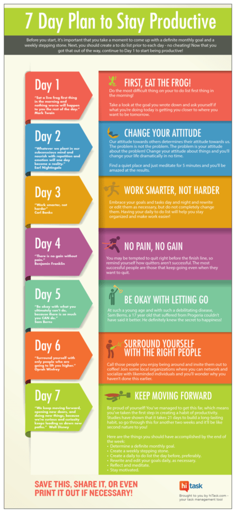 Simple Productivity 7 Day Productivity Plan Infographic