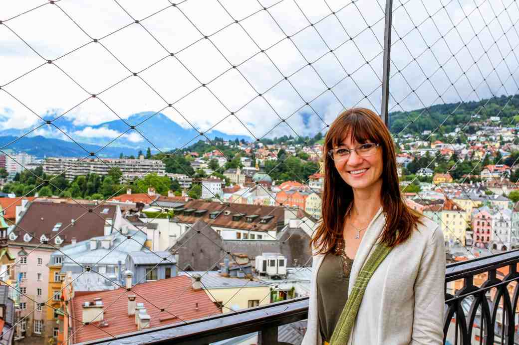 At top of City Tower, Innsbruck - www.lauraenroute.com
