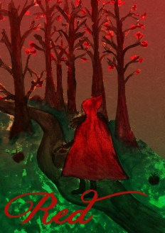Decided to draw a red riding hood figure in a forest - not sure this is going the way I want it to