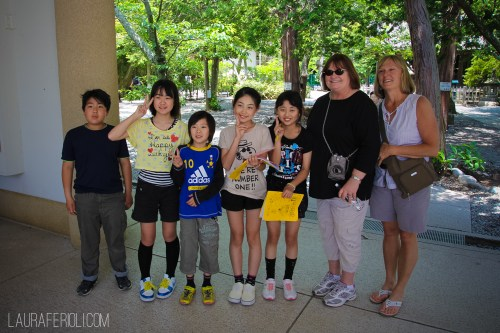 Judy, Janice and some Japanese school children