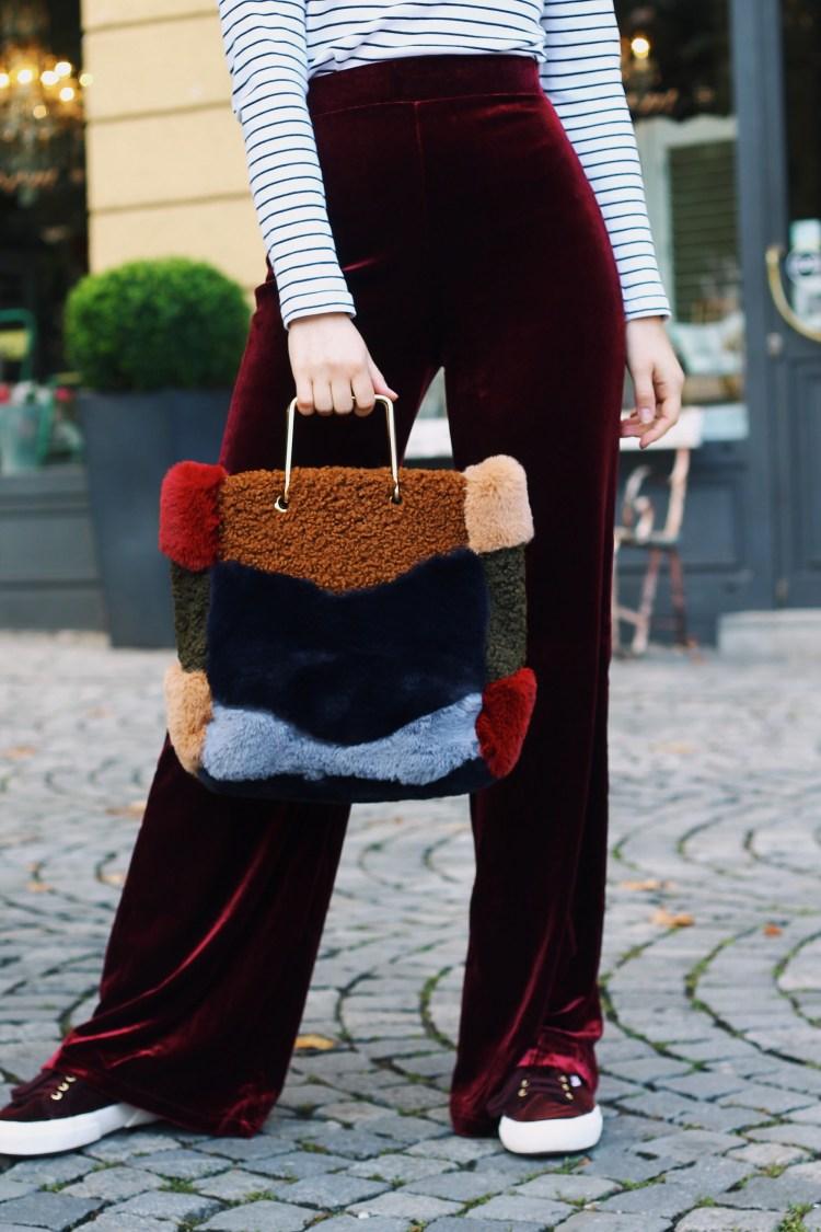 Laura Herz Velvet Palazzo Parts s.Oliver Ringelshirt Mango Fake Fur Bag Superga Sneaker