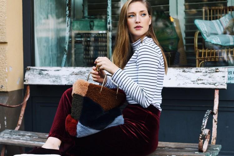 Laura Herz Velvet Palazzo Parts s.Oliver Ringelshirt Mango Fake Fur Bag