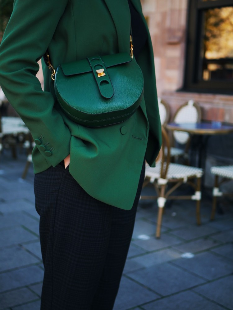 Green Blazer, Cocchinelle Bag and Sioux Shoes