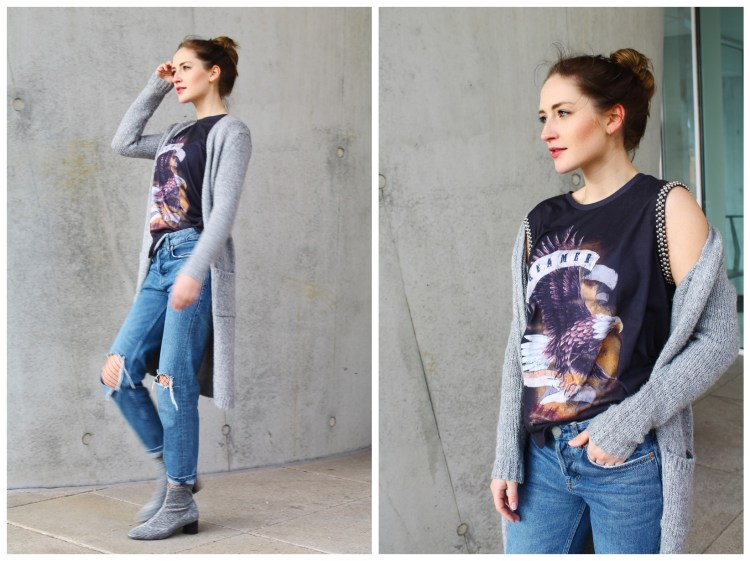 Band Shirt, Destroyed Boyfriend-Jeans und Silverboots