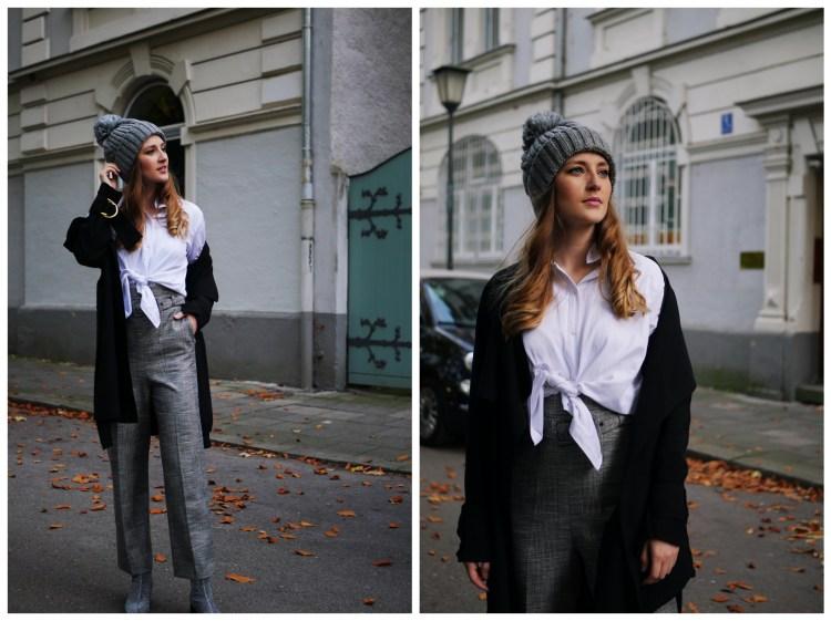 High-Waist Hose, weiße Bluse und schwarzer Mantel
