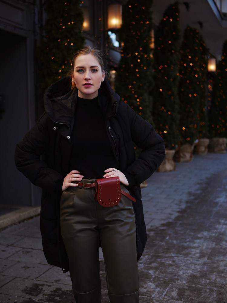 Down Parka, Fake Leather Pants and Belt Bag