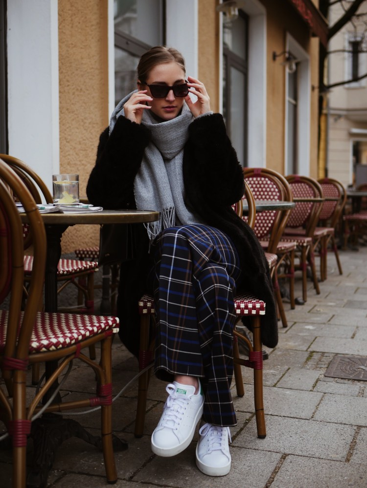Grey Hoodie, Karo Trouser, Max and Co. Bag, Stan Smith Bold Sneaker and Eyes and More Sunglasses