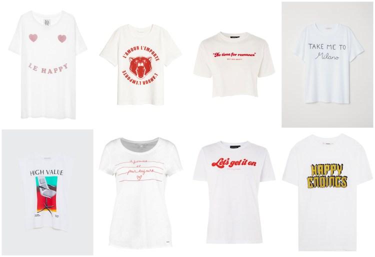 T-Shirts mit Schriftzug Weiss