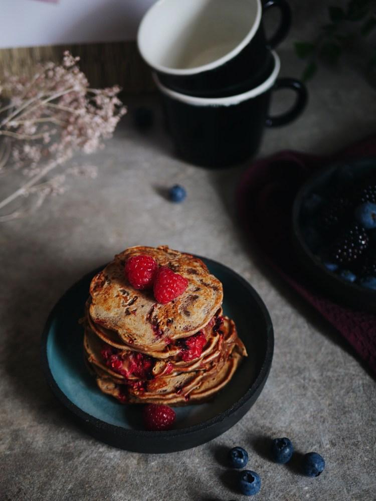Pancakes mit Himbeeren