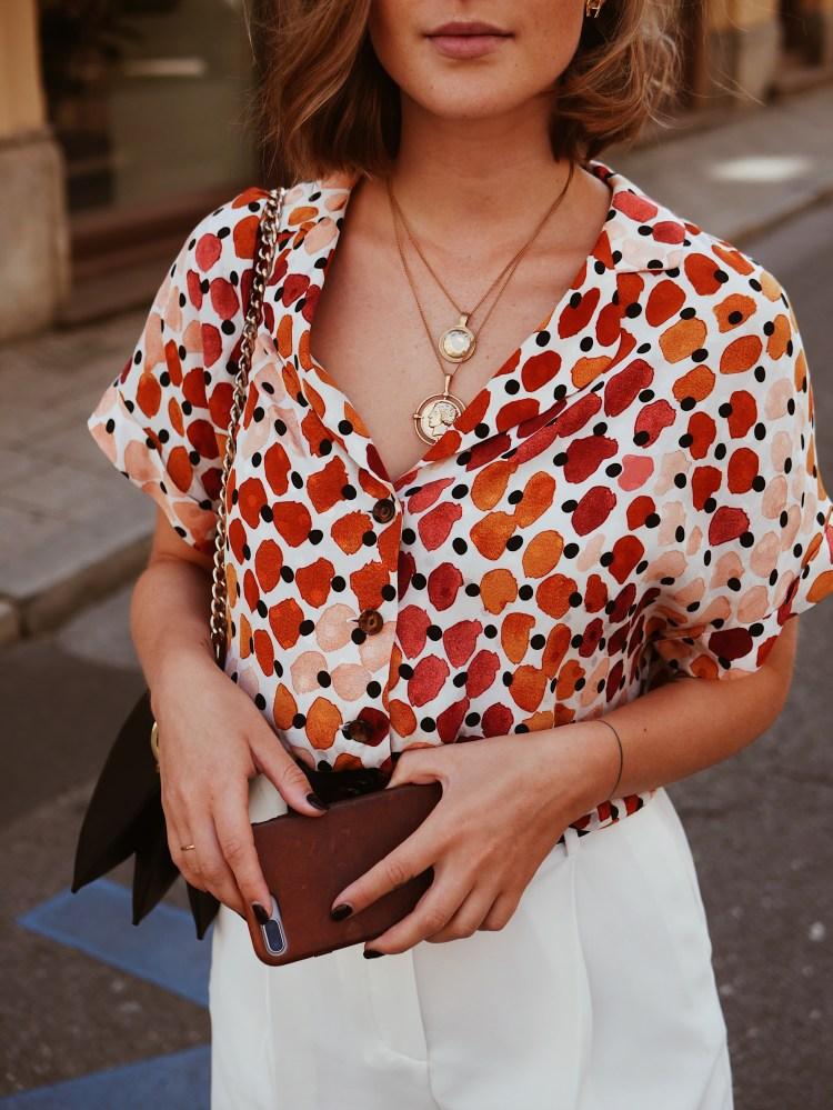 Mango fließende, bedruckte Bluse