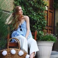 Esprit Top, White Culotte, Gerry Weber High-Heeled Sandal and Basket Bag