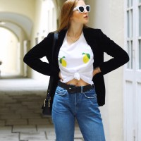 Lemon Print Tee, Destroyed Boyfriend Denim, Velvet Blazer and Patent Leather Bootee with Zipper