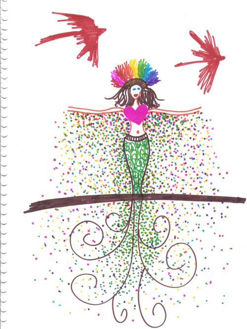 Earth Spirit sketchbook art using markers by Laüra Hollick