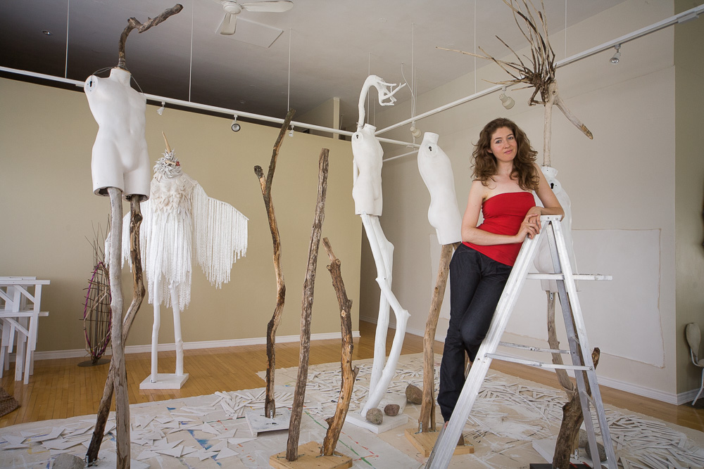 Laüra Hollick creating in her Soul Art Studio. Photo by Kevin Thom