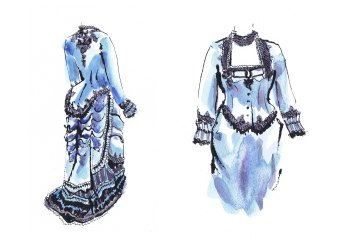 Watercolour paintings of a blue period costume by Laura Elliott at Drawesome Illustration, Bristol. Illustration, Design, Whimsy