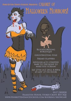Poster with zombie girl and gravestone by Laura Elliott at Drawesome Illustration, Bristol. Illustration, Design, Whimsy
