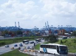 Blick auf den Hafen am Panama Kanal in Panama City