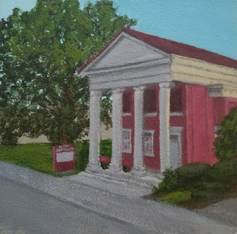 Arnot Art Museum by Laura Jaen Smith. Acrylic landscape painting of Matthias Arnot greek revival mansion Elmira NY from Around the Finger Lakes series.