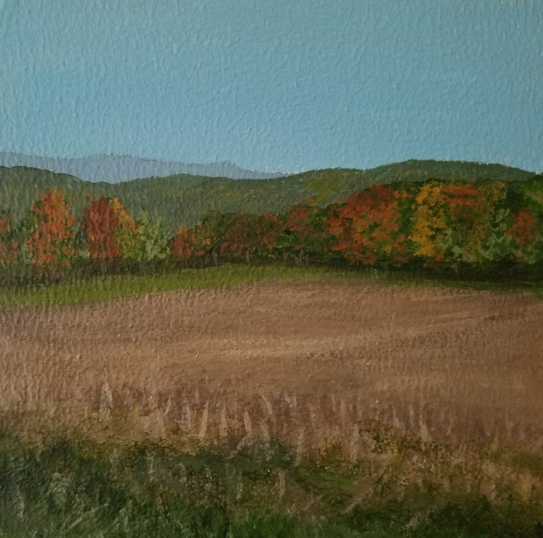 Autumn Cornfield in Beaver Dams by Laura Jaen Smith. Acrylic landscape painting of harvested farm with line of colored trees and hills in distance from Around the Finger Lakes series.