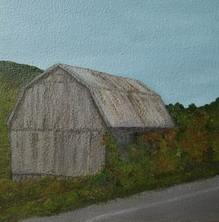 Barn in Newfield by Laura Jaen Smith. Acrylic landscape painting of roadside weathered barn near Ithaca from Around the Finger Lakes series.