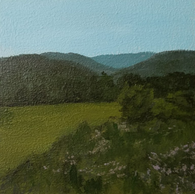 Breesport at Dusk by Laura Jaen Smith. Acrylic landscape painting of field on Jerusalem Hill Elmira from Around the Finger Lakes series.