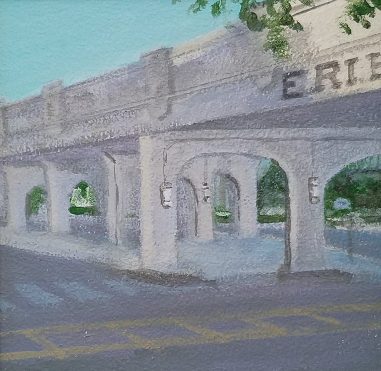 Erie Street Bridge by Laura Jaen Smith. Acrylic landscape painting of train bridge in downtown Elmira from Around the Finger Lakes series.