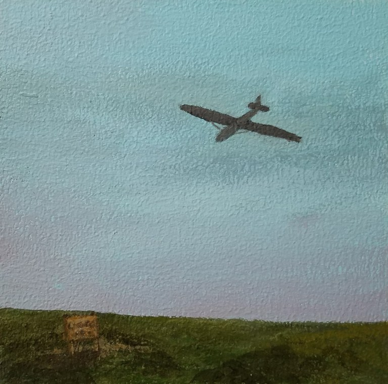 Harris Hill Glider by Laura Jaen Smith. Square acrylic landscape painting of glider plane on top of Harris Hill Big Flats.. Around the Finger Lakes series.