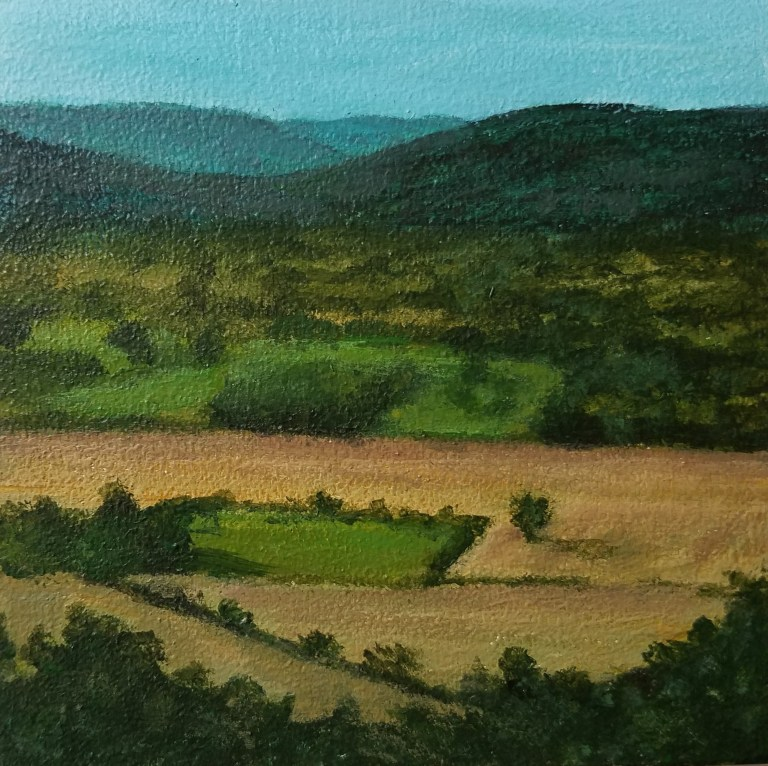 Harris Hill Overlook by Laura Jaen Smith. Square acrylic landscape painting of Chemung Valley from Big Flats hilltop. mbstone with raven on top. Around the Finger Lakes series.