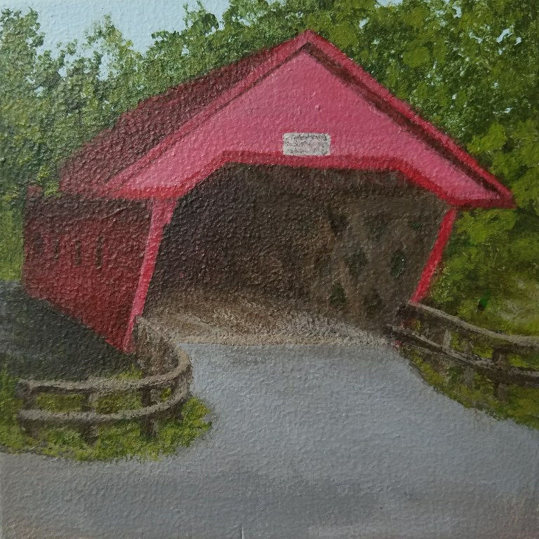 Newfield Covered Bridge by Laura Jaen Smith. Square acrylic landscape painting. Around the Finger Lakes series.
