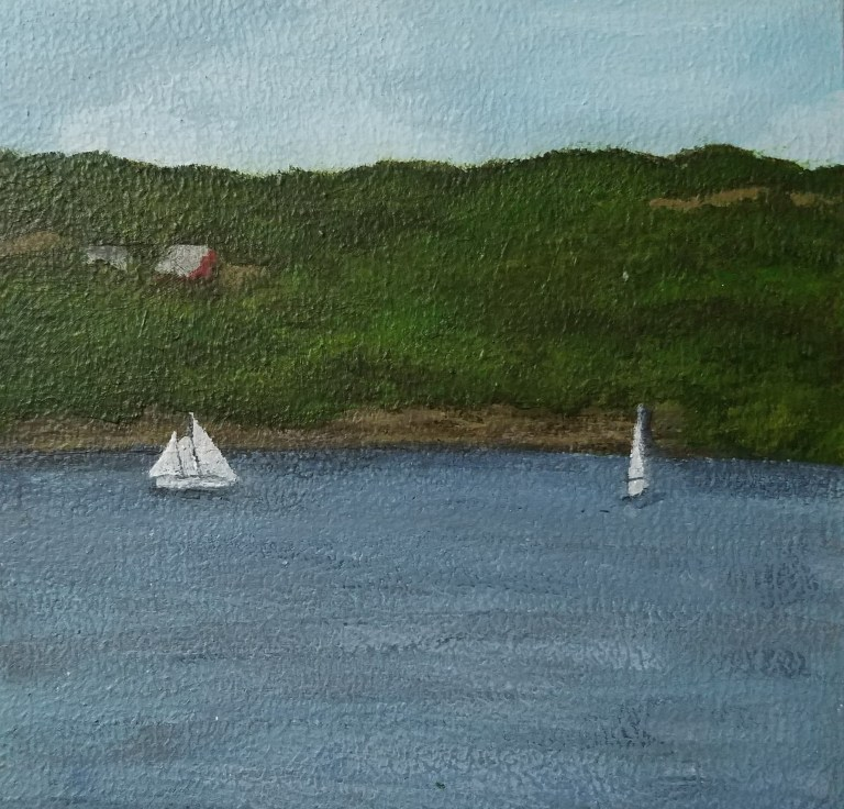 Seneca Lake by Laura Jaen Smith. Square acrylic landscape painting of lake scene with two sailboats. Around the Finger Lakes series.