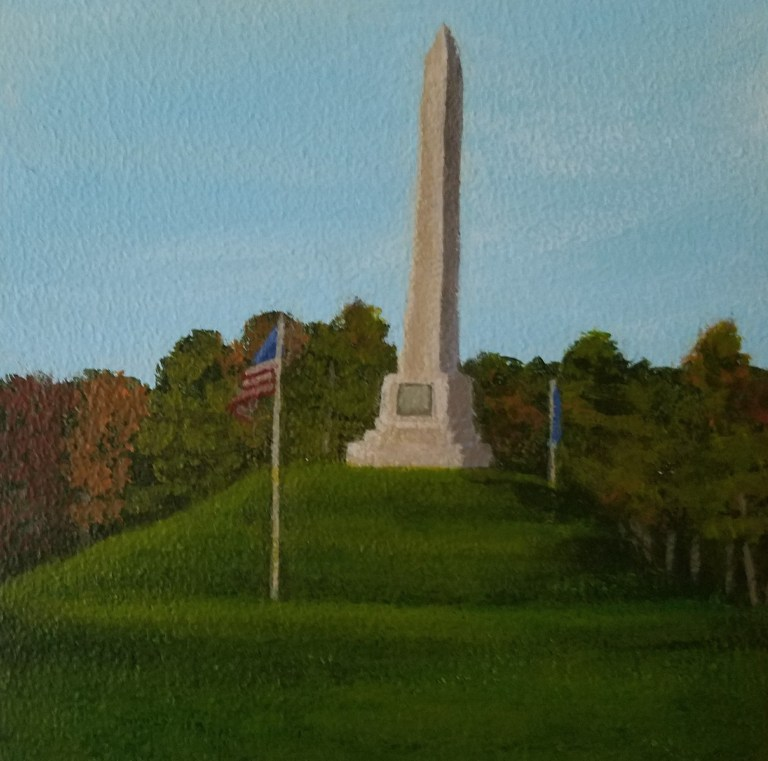 Sullivan's Monument by Laura Jaen Smith. Square acrylic landscape painting of monument on top of Newtown Battlefield State Park. Around the Finger Lakes series.