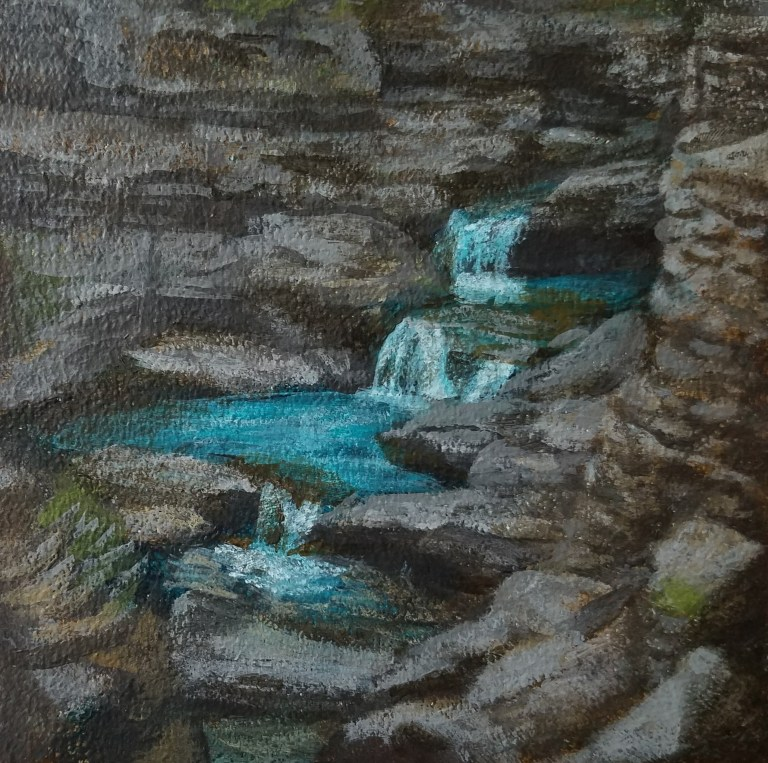 Watkins Glen Gorge by Laura Jaen Smith. Square acrylic landscape painting of small waterfall in Watkins Glen. Around the Finger Lakes series.
