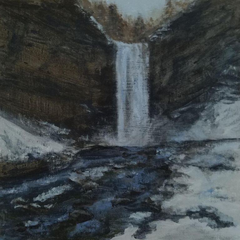 Taughannock Falls by Laura Jaen Smith. Acrylic landscape painting of waterfall in winter from gorge trail. From 50 NY Waterfalls Project.