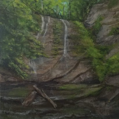 Sweedler Preserve by Laura Jaen Smith. Acrylic landscape painting of Lick Brook waterfall Ithaca from 50 NY Waterfalls series.