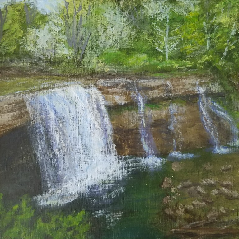 Letchworth Middle Falls by Laura Jaen Smith. Acrylic landscape painting of waterfall in Lansing from 50 NY Waterfalls Project.