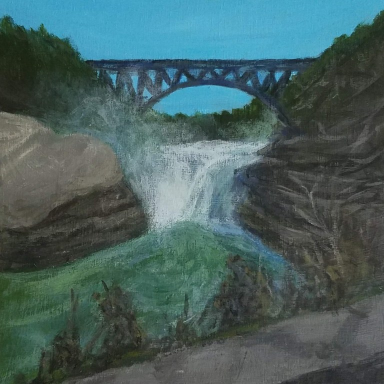 Letchworth Upper Falls by Laura Jaen Smith. Acrylic landscape painting of waterfall in Letchworth State Park from 50 NY Waterfalls Project.