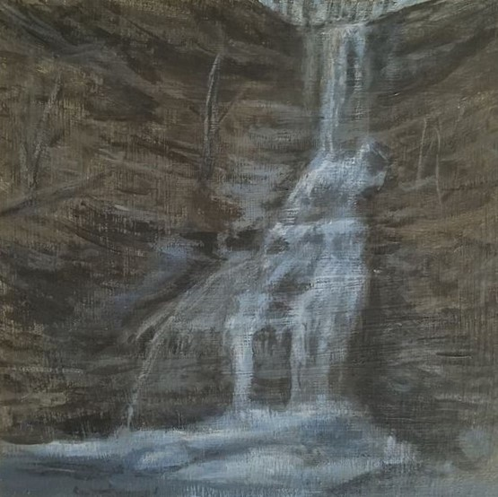 Aunt Sarah's Falls by Laura Jaen Smith. Acrylic landscape painting of waterfall Montour Falls. 50 NY Waterfall Project.