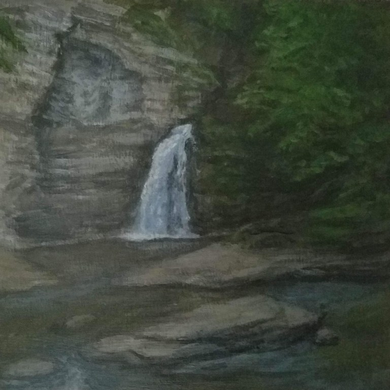Eagle Cliff Falls by Laura Jaen Smith. Acrylic landscape painting of waterfall in Havana Glen Montour Falls from 50 NY Waterfalls Project.