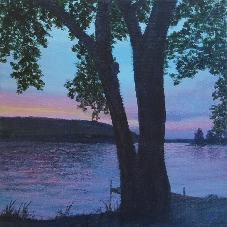End of a Perfect Day by Laura Jaen Smith. Acrylic landscape painting of lake at sunset.