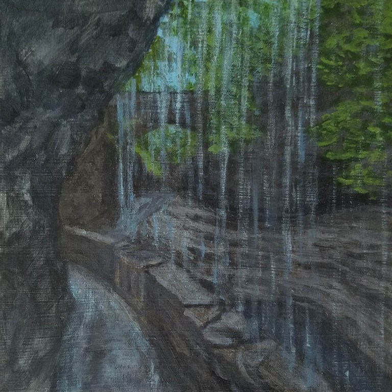 Rainbow Falls by Laura Jaen Smith. Acrylic landscape painting of waterfall in Watkins Glen State Park from 50 NY Waterfalls Project.