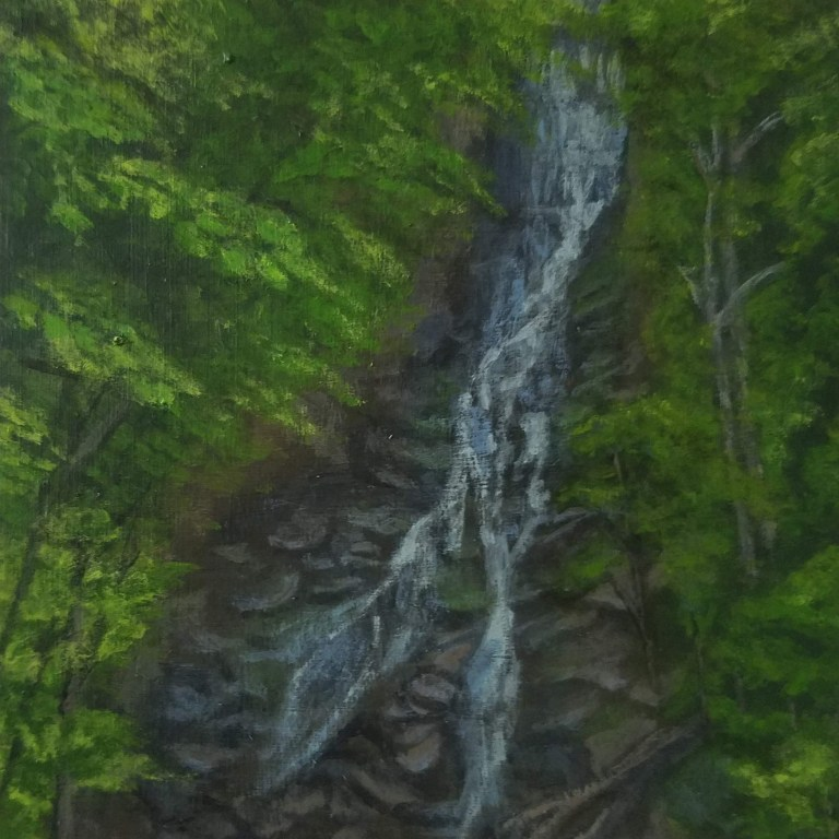 Pratt's Falls by Laura Jaen Smith. Acrylic landscape painting of waterfall from 50 NY Waterfalls Project.