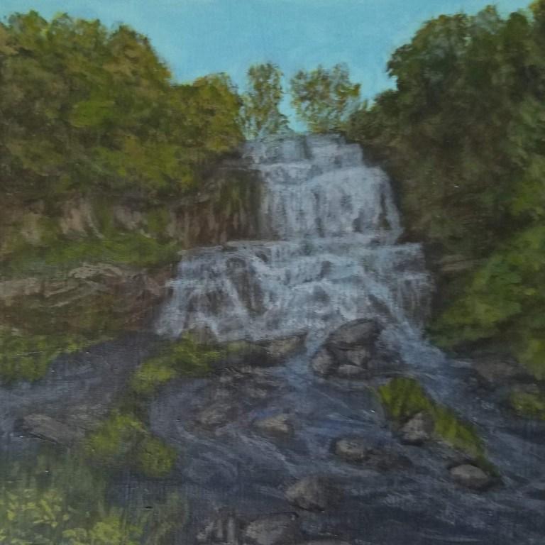 Chittenango Falls by Laura Jaen Smith. Acrylic landscape painting State Park waterfall from 50 NY Waterfalls Project.