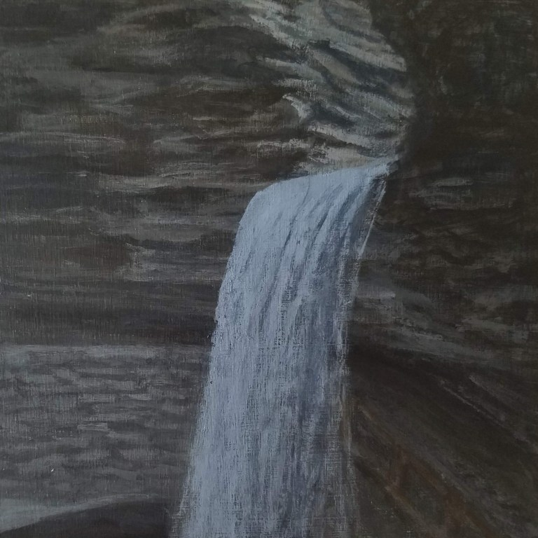 Cavern Cascade by Laura Jaen Smith. Acrylic landscape paint of Watkins Glen State Park waterfall. 50 NY Waterfalls Project.