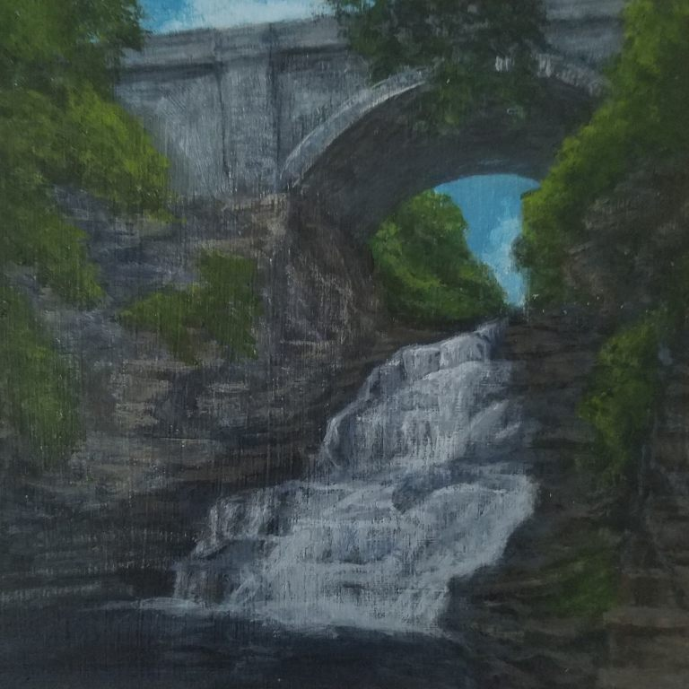 Giant's Staircase by Laura Jaen Smith. Acrylic landscape painting of Ithaca waterfall Cascadilla Gorge. From 50 NY Waterfalls Project.