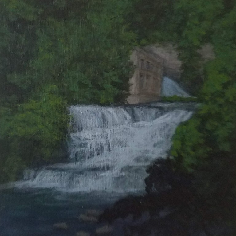 Foaming Falls by Laura Jaen Smith. Square acrylic landscape painting of waterfall in Fall Creek Gorge Ithaca. 50 NY Waterfalls Project.