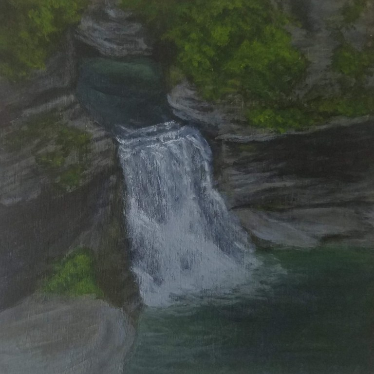 Triphammer Falls Lower Falls by Laura Jaen Smith. Acrylic landscape painting of waterfall in Fall Creek Gorge Ithaca from 50 NY Waterfalls Project.