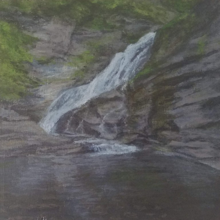 Lucifer Falls by Laura Jaen Smith. Acrylic landscape painting of waterfall in Treman State Park Ithaca from 50 NY Waterfalls Project.