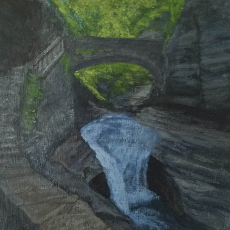 Triple Cascade by Laura Jaen Smith. Acrylic landscape painting of waterfall in Watkins Glen State Park from 50 NY Waterfalls Project.