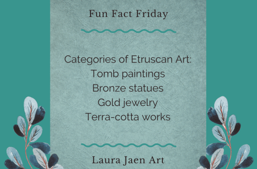 Fun Fact Friday graphic - Categories of Etruscan Art: Tomb paintings, Bronze statues, Gold jewelry, Terra-cotta works.